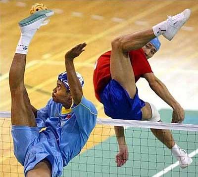 O takraw é um esporte tailandês pouco conhecido.
